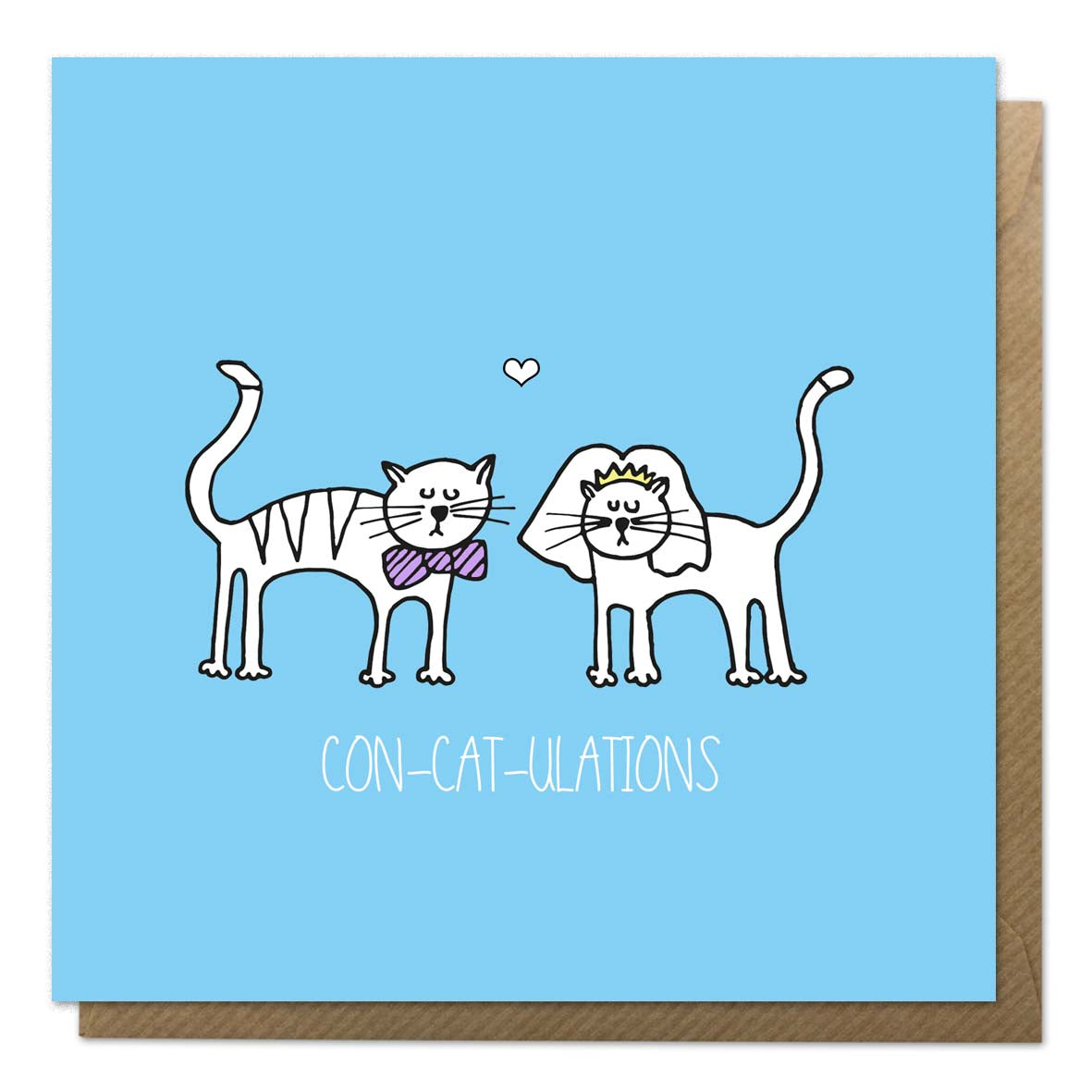 Blue wedding card with an illustration of cats getting married