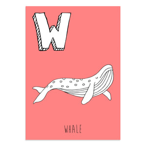 Red postcard featuring the letter W for whale