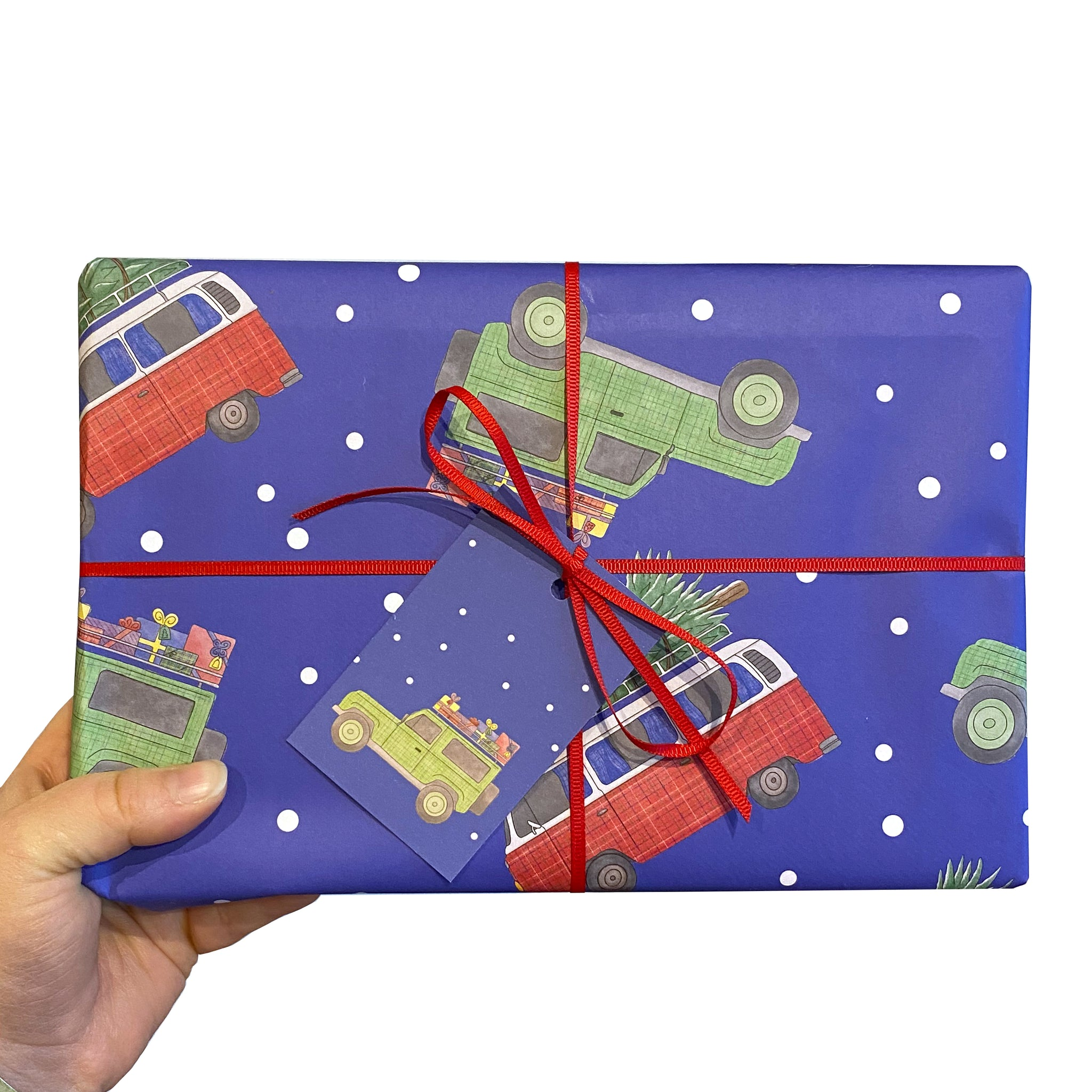 Vehicles Christmas Wrapping Paper and Gift Tags