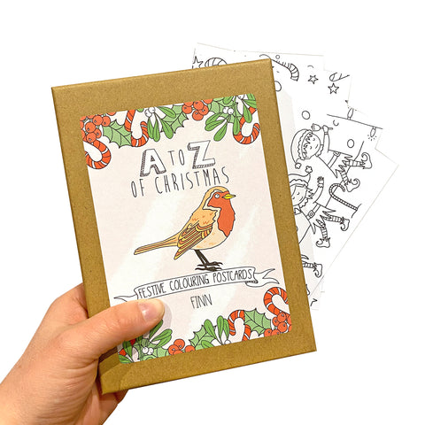 Christmas Colouring In Postcard Set