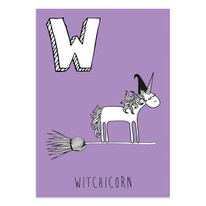 Unicorn postcard featuring the letter W for witchicorn