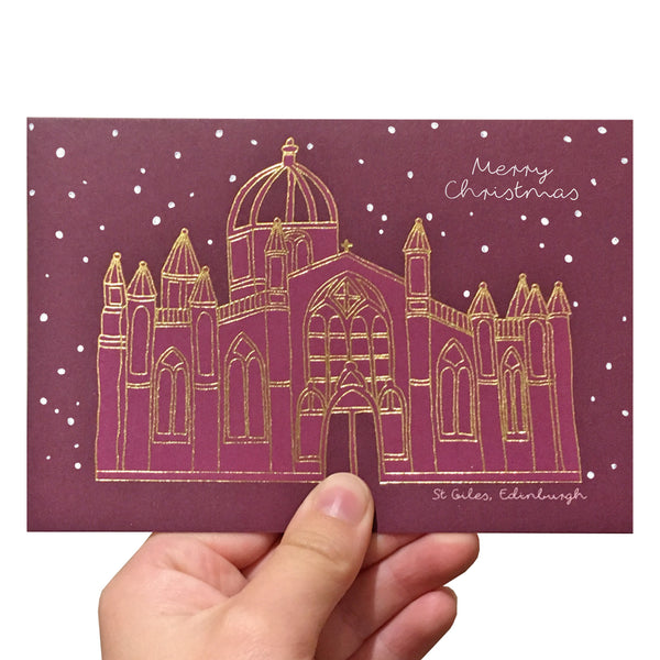 Purple St Giles Christmas card