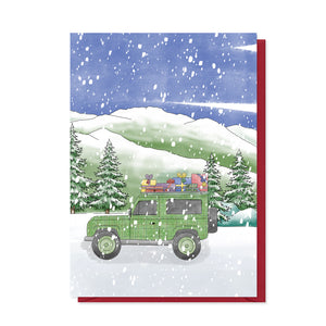Tartan Land Rover Christmas Card