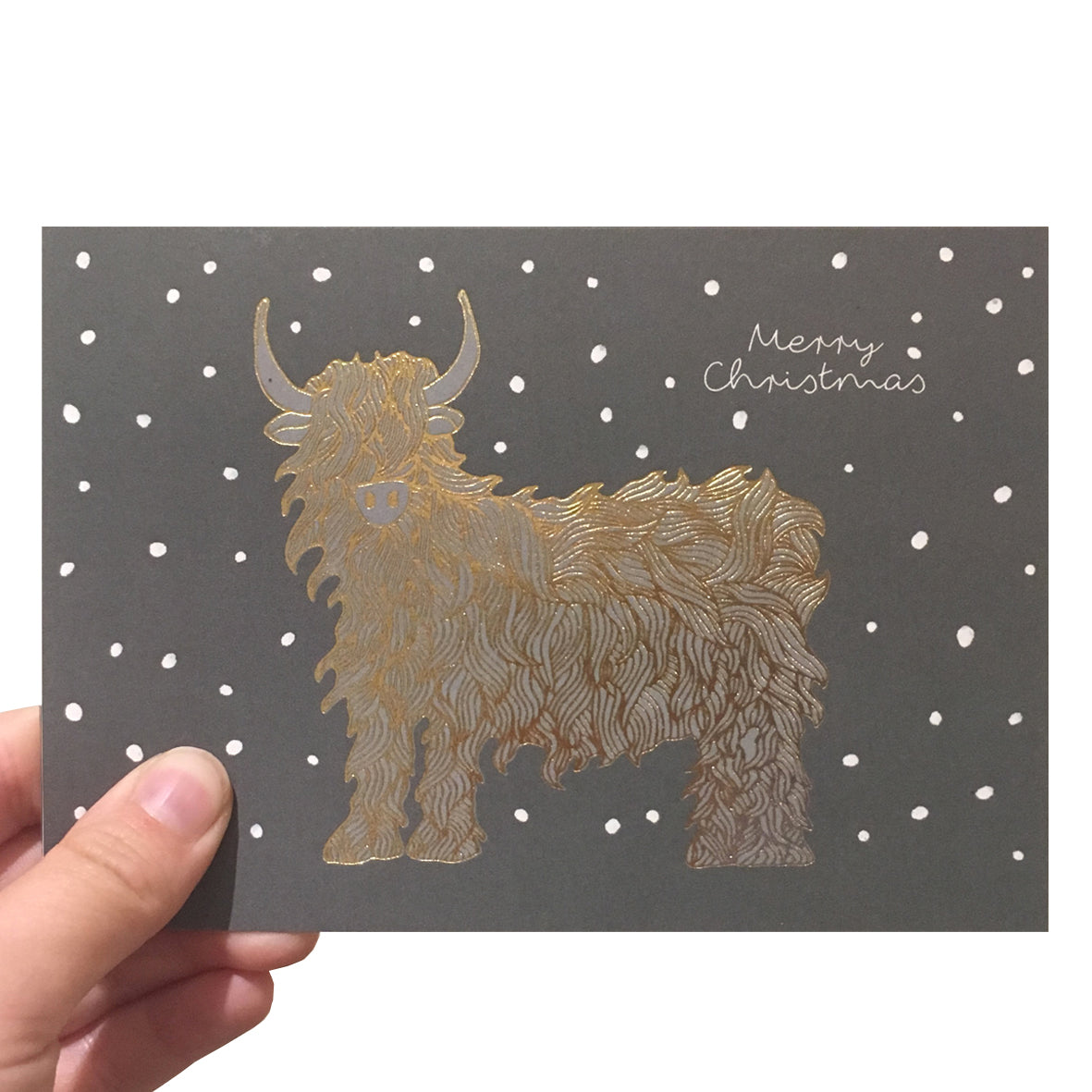Grey highland cow Christmas card