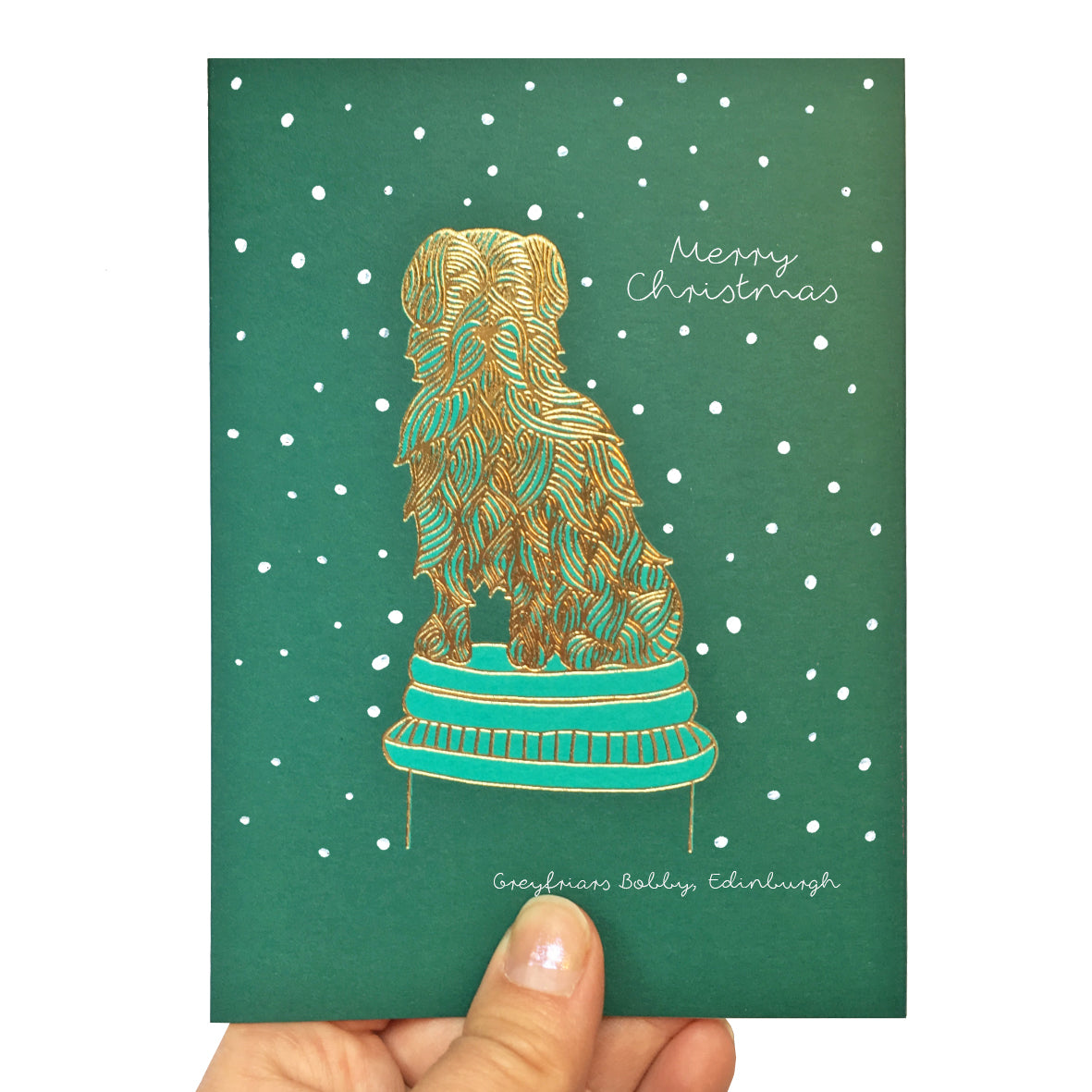 Turquoise Scottish Christmas card featuring greyfriars bobby