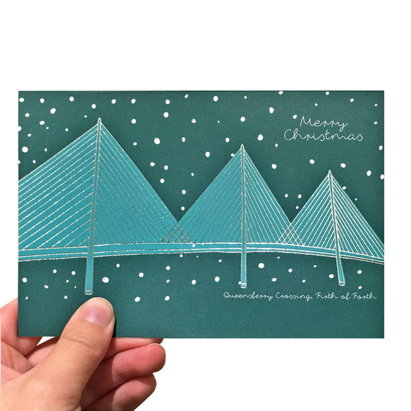 Turquoise Queensferry Crossing Christmas Card
