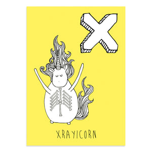 Unicorn postcard featuring the letter X for xraycorn
