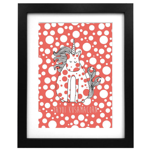 A3 sized art print with an illustration of Yayoi Kusama unicorn