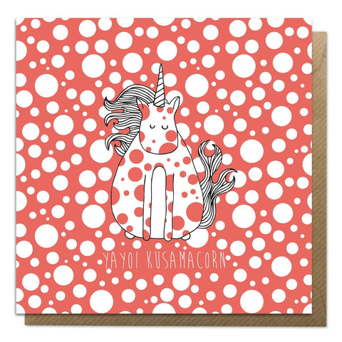 Greeting card with an illustration of Yayoi Kusama unicorn
