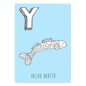 Blue postcard featuring the letter Y for yazoo darter fish