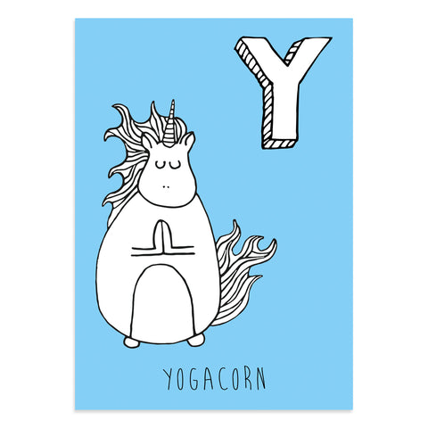 Unicorn postcard featuring the letter Y for yogacorn