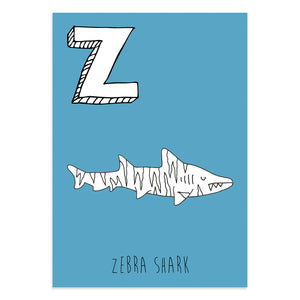 Blue postcard featuring the letter Z for zebra shark