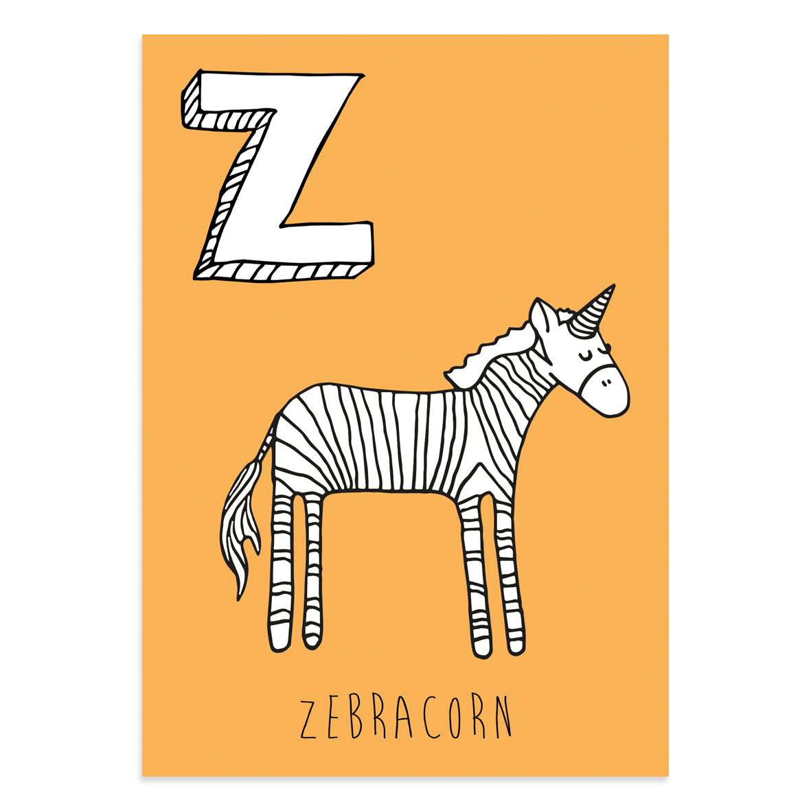 Unicorn postcard featuring the letter Z for zebracorn