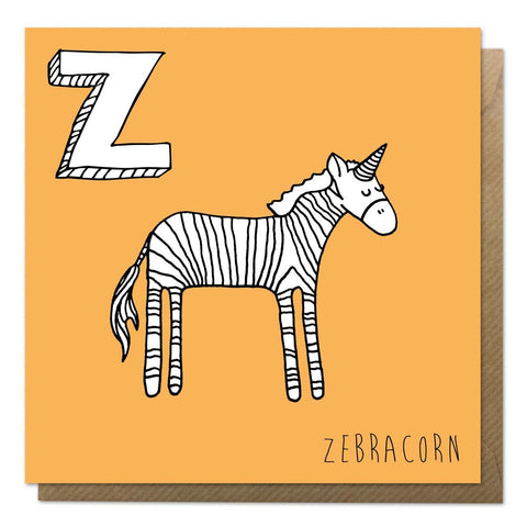 Orange alphabet unicorn card with an illustration of a zebra unicorn