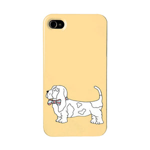 Orange phone case with an illustration of a bassett hound