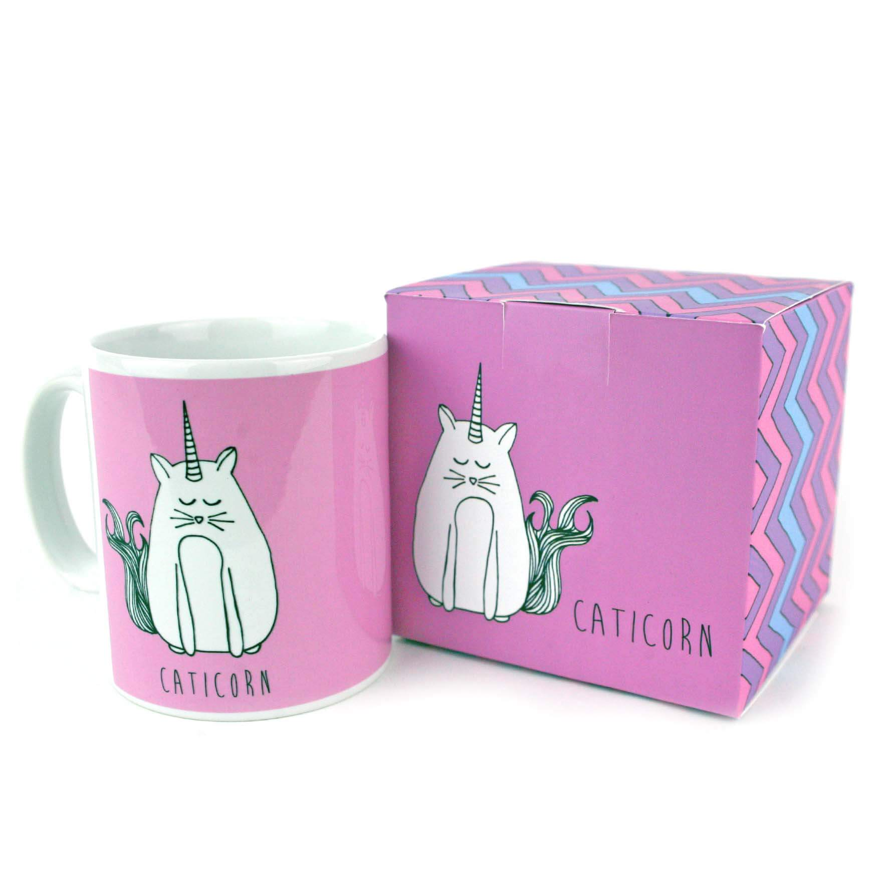 Pink mug with an illustration of a unicorn cat. Comes with caticorn gift box