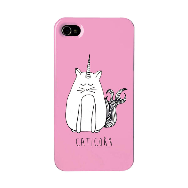 Pink phone case featuring a cat unicorn
