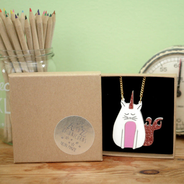 Pink, glittery caticorn acrylic necklace