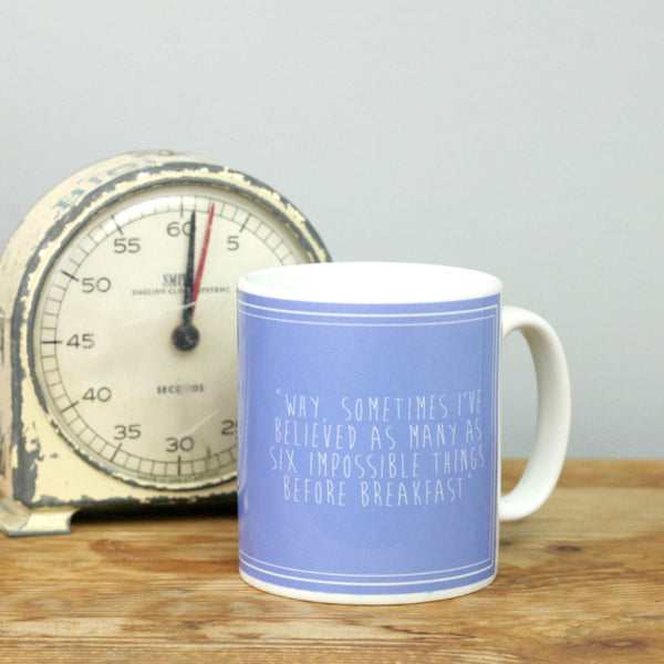 Back of Alice in Wonderland quotes mug