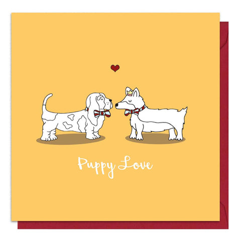 Orange dog Valentine's Day card with an illustration of a Bassett hound and a corgi