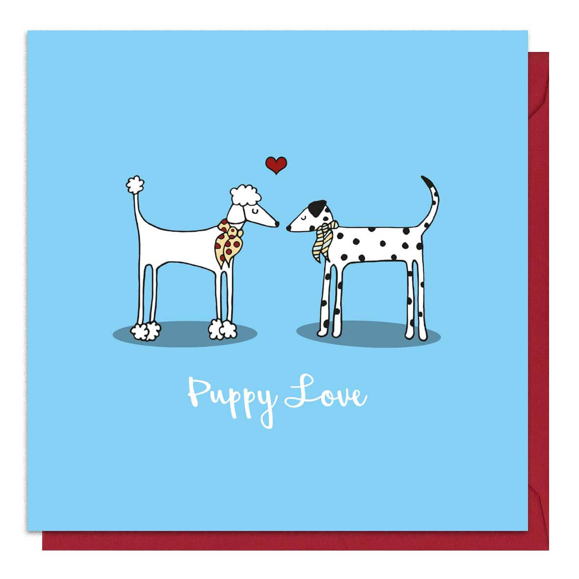 Blue dog Valentine's Day card with an illustration of a poodle and a dalmatian