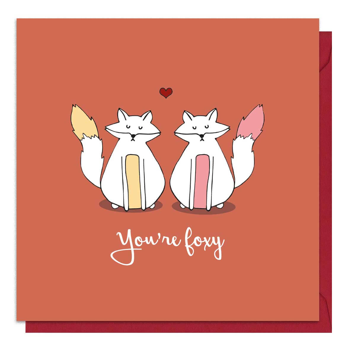 Red fox Valentine's Day card featuring an illustration of two foxes