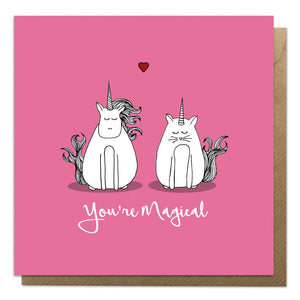 Pink Valentine's Day card with an illustration of a unicorn and a caticorn
