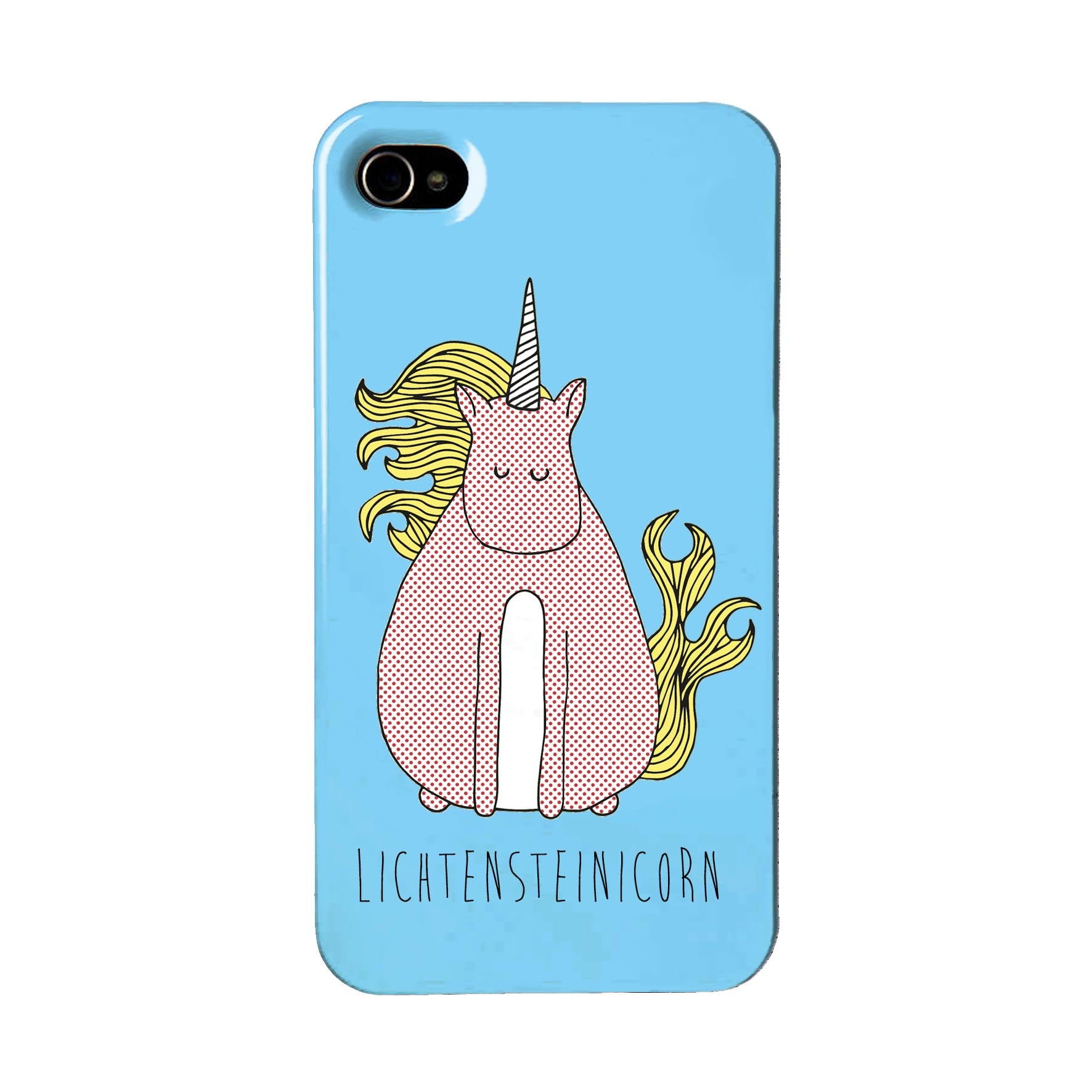 Blue phone case with an illustration of Lichtenstein unicorn