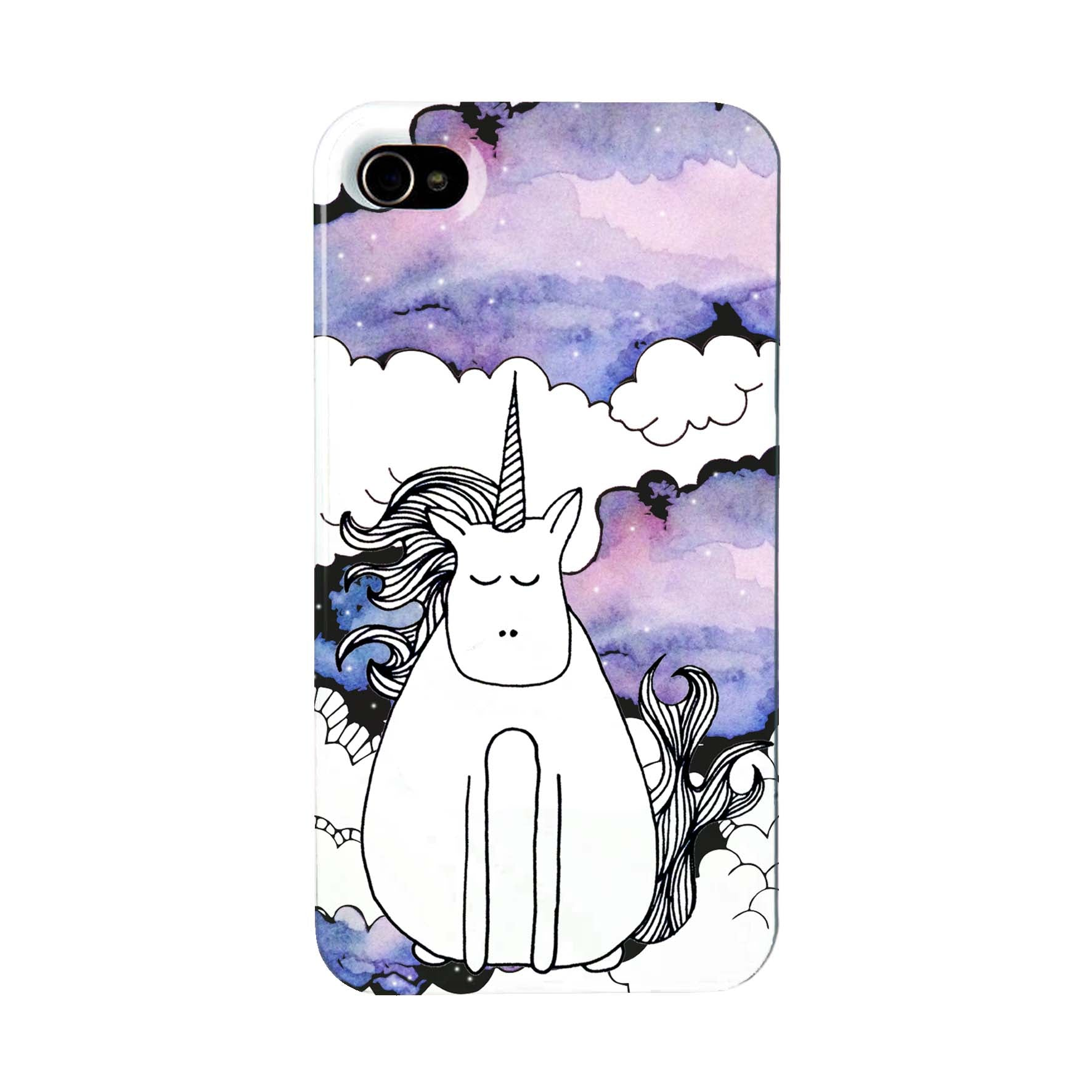 Phone case with a unicorn on a watercolour galaxy sky