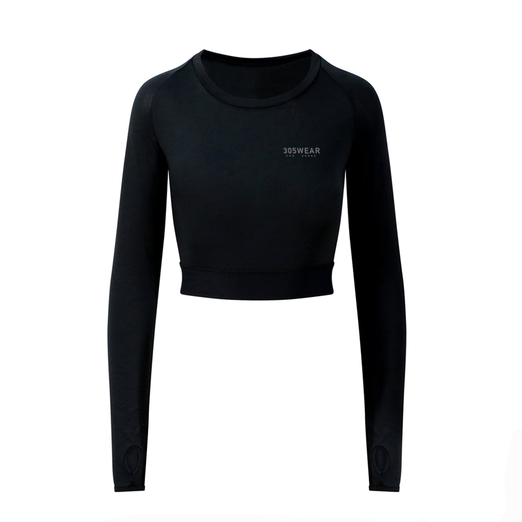 Wordmark PERFORMANCE Long Sleeve Crop Top