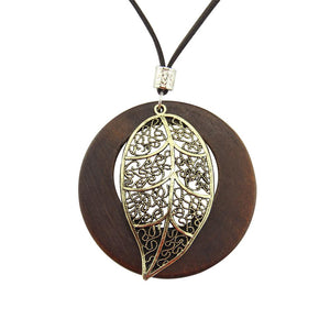 Ancient Leaf Wooden Necklace