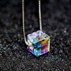 Sterling Silver Rainbow Cube Necklace