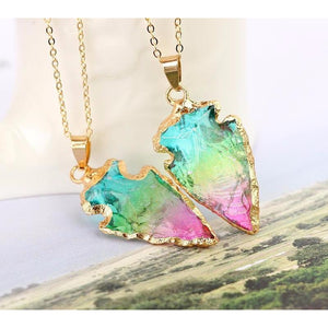 Bright Rainbow Arrowhead Necklace