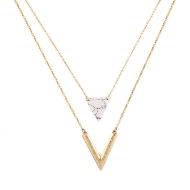 Gold and Marble Triangle Layered Necklace