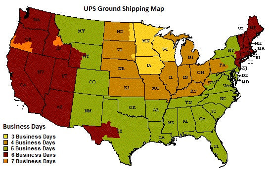 Balloons123.com Ground Shipping Map