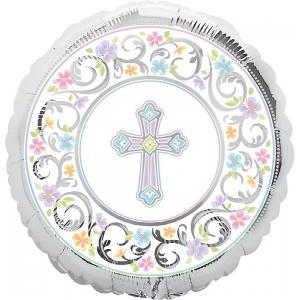 B123-48090-(5ct) 18'' Blessed Day Foil-Pkg foil balloon-Occasions