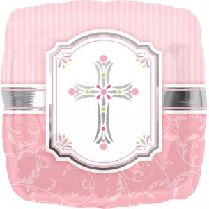 B123-56350-(5ct) 18'' Communion Blessing Pink- Foil Balloons-Occasions