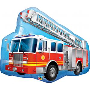 "B123-60115-36"" Red Firetruck Shape - Non-Pkg Foil Balloon-Occasions"