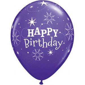 "B123-60179-(50ct) 11"" Birthday Sparkle Latex-Violet/Lila Latex Balloon-Occasions"
