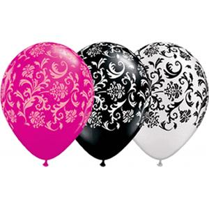 "B123-62820-(50ct) 11"" Damask Print Latex Balloon Assorted-Specialty Balloons"
