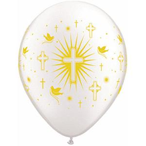 "B123-64134-(50ct) 11"" Cross Doves Pwh Latex Balloon-Occasions"