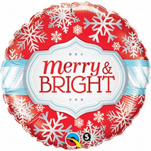 "B123-74664-(5ct) 18"" Merry/Bright Snowflakes -Non-Pkg foil balloon-Holiday and Seasonal"