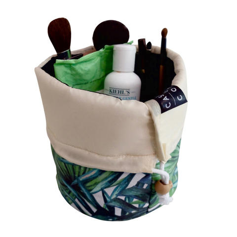 Signature Bucket Travel Cosmetic Bag: Banana Leaf - Exclusive Square