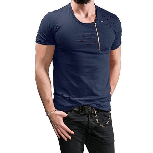 O-Neck Men's Zipper T-Shirt - Exclusive Square