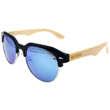 Mens & Women's Handmade Bamboo Hybrid Square Clubmaster Sunglasses - High Quality Polarized Lenses - Exclusive Square