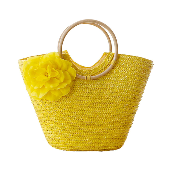 Woven Straw Totebag with Flowers by Coseey - Exclusive Square