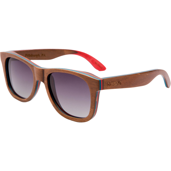 Mens & Women's Board Slide Brown Skateboard Wood Sunglasses - Polarized Lenses: - Exclusive Square
