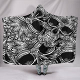 Black and White Skulls Hooded Blanket - Exclusive Square