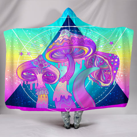 Psychadelic Mushrooms Hooded Blanket - Exclusive Square