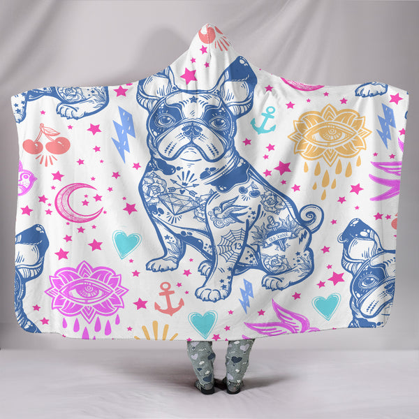 Rebellious French Bulldog Hooded Blanket - Exclusive Square